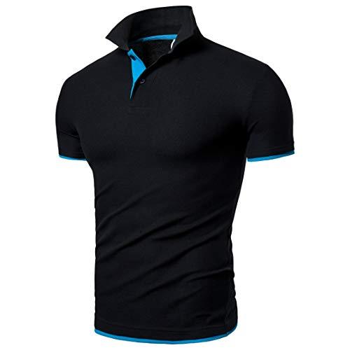 BeIM Herren Kurzarm Poloshirt Polohemd Men's Polo Shirt Basic Polo T-Shirt Baumwolle (S, Schwarzblau)