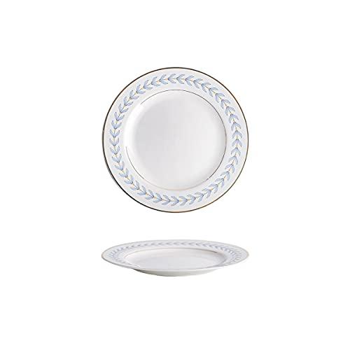 MHUI Juego de 2 Platos para Cena, patrón de Encaje de Porcelana, vajilla Pintada a Mano de Estilo japonés, Cena/Ensalada/Fruta/Plato,Azul