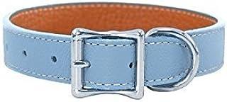 Luxury Italian Leather Tuscany Dog Collar - Light Blue - 20