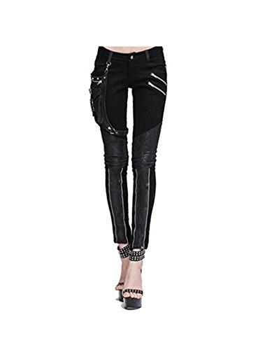 Devil Fashion Steampunk Damen Hose Mit Eins Leder Tasche Gothic Bleistift Hosen Weinlese Stitching Leggings (2XL, Schwarz)