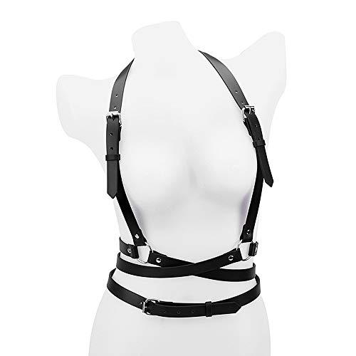 WWSZ Sexy Punk Leder Hosenträger für Erwachsene Mode Shaping Taille Gürtel Brustgurt Sling Body Strap Hosenträger Gürtel
