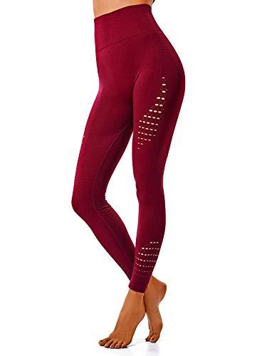 INSTINNCT Damen Yoga Lange Leggings Slim Fit Fitnesshose Sporthosen #Stil2-Rot M