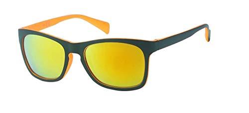 CHICNET Gafas de sol unisex Nerd Vintage Retro Gafas de espejo, con agujero para la llave, protección UV 400, color negro y multicolor, naranja,