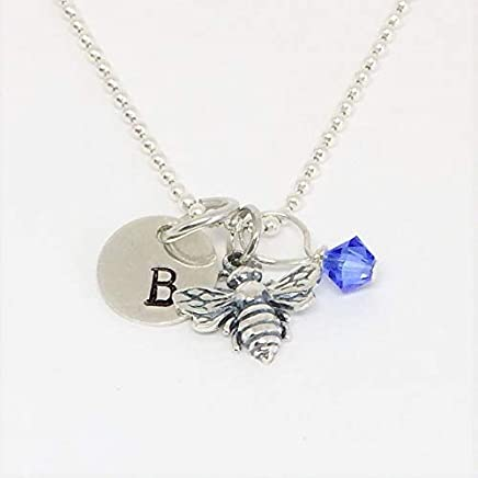 cbbb3e3c3 Bee Necklace Sterling Silver - Personalized Hand Stamp Initial - Teeny Tiny  Honey Bee Necklace,