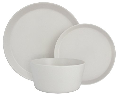 Melange Stoneware 18-Piece Dinnerware Set (Moderno White) | Service for 6| Microwave, Dishwasher & Oven Safe | Dinner Plate, Salad Plate & Soup Bowl (6 Each)