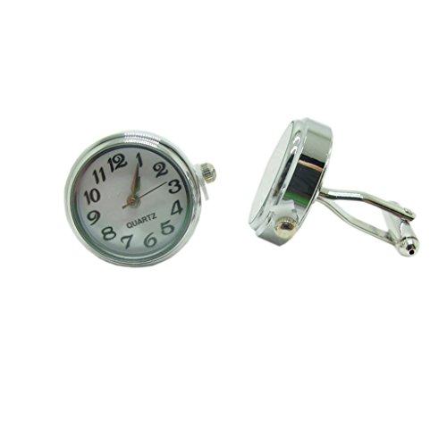 Generic Einzigartigen Runden Kreis Uhr Arbeitshemd Knopf Anzug Manschettenknöpfe Silber