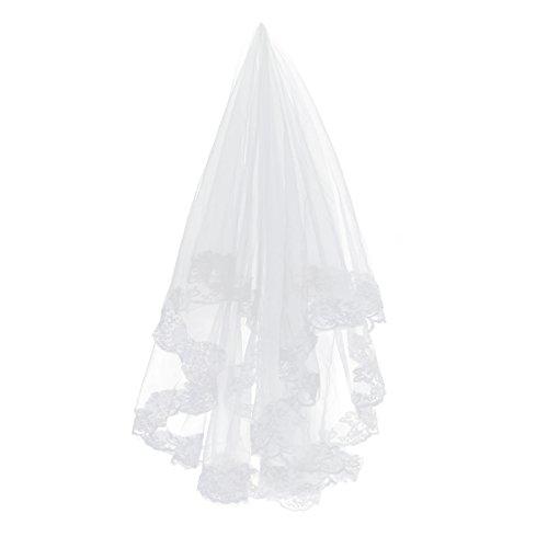 TinkSky Mode 2,6 M lange monistisches Stickerei Spitze Kante Dekor Braut Hochzeit Schleier Mantilla (weiß)