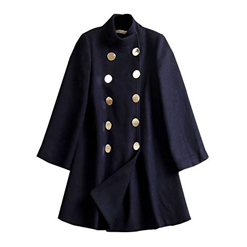 HUIGE dames halflange wollen jas mantel dubbele borst Stand kraag winter losse erwt jas overjas