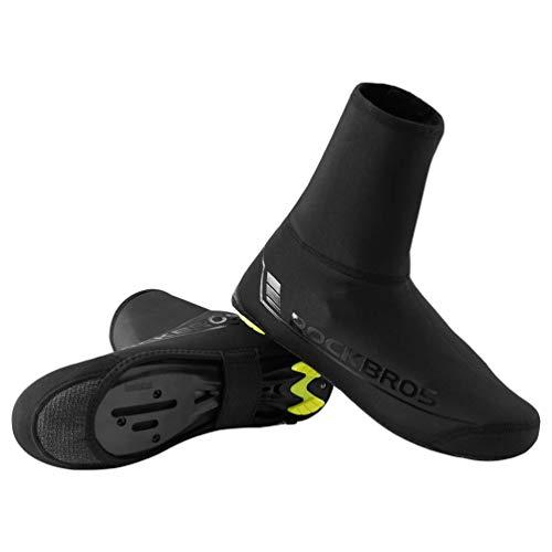 ROCKBROS Überschuhe Fahrrad Shoecover Überzieher für Radsport Rennrad MTB Abdeckung Windfest Damen Herren Unisex Schwarz (M für 38-42/ L für 42-46)