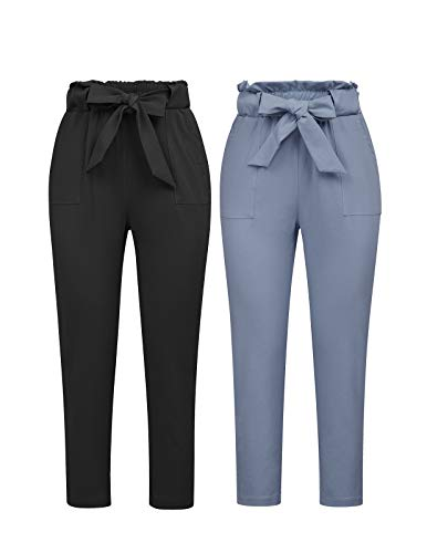 GRACE KARIN Women's Pants Casual Cropped High Waist Pants 2pcs L Black+Blue-Gray