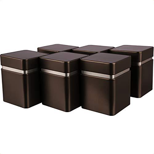 Dosenritter | 6 x eckige Teedose/Vorratsdose mit extra Aromaschutz Innendeckel, anthrazit braun,aromadicht aus Metall…