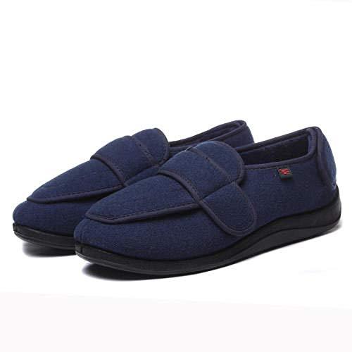TDYSDYN Zapatos para El Hogar De Ajuste Ancho para DiabéTicos,Zapatos Blandos para Caminar de Gran tamaño, Zapatos cálidos y de Terciopelo ensanchados y Ajustables-Blue_43