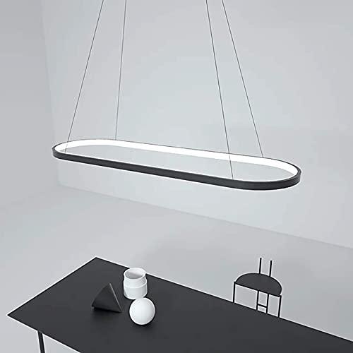 IUHUA Lámpara Colgante LED Regulable Rectangular de Aluminio Negro lámpara Colgante de Comedor con Control Remoto en Altura Ajustable para Cocina, cafetería, Villa, Hotel, 66W/82W/108W, 70cm