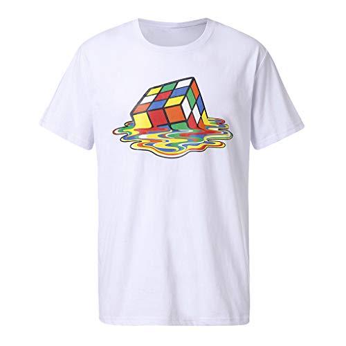 Sylar Camisetas de Manga Cortas Cuello Redondo para Hombre Nuevo 2019, Verano Suave y Transpirable Camisa Camiseta Moda Rubik'S Cube 3D Impreso tee Camisa Slim fit Tops