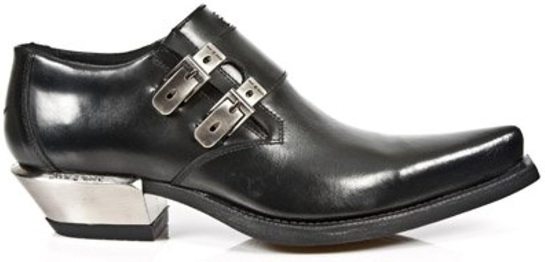 New Rock Newrock 7934 1 Metallic Black Leather Buckle West Steel Heel shoes Boot