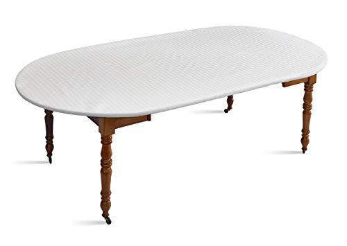 D'CLIC-Protège Table Blanc,élastiqué Tout Autour, pour Table Ovale de Longueur 130 cm jusqu'à 144 cm Max, d'une Largeur de 105 à 123 m Max et d'un Plateau de 3 cm d'épaisseur Max