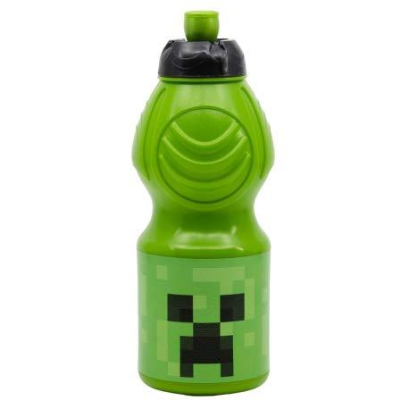 Gourde en plastique pour enfants, 400 ml, avec bouchon sport refermable, motif Minecraft