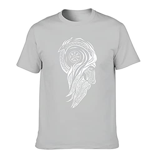 Camiseta de algodón para hombre con el símbolo vikingo popular de alta calidad – temática de manga corta Gris plateado. S