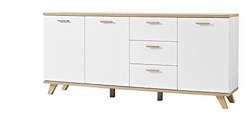 Germania 3217-221 Sideboard im skandinavischen Design GW-Oslo in Weiß/Absetzungen Sanremo-Eiche-Nachbildung, 192 x 85 x 40 cm (BxHxT)
