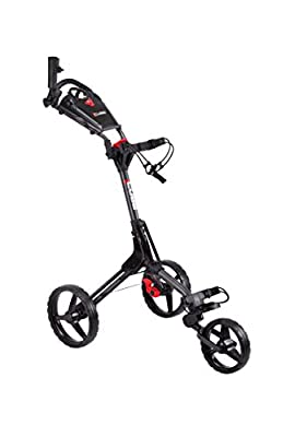 Cube CART 3 Wheel Push Pull Golf CART - Two Step Open/Close - Smallest Folding Lightweight Golf CART in The World - Choose Color! (Charcoal/Black)