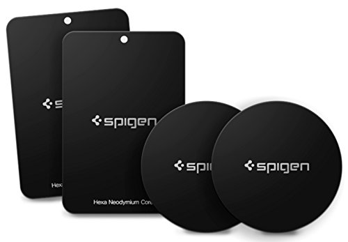 Spigen Kuel MP4-P Metal Plates for Magnetic Car Mount Phone Holder QNMP Compatible (4 Pack - 2 Round, 2 Rectangle) - Black
