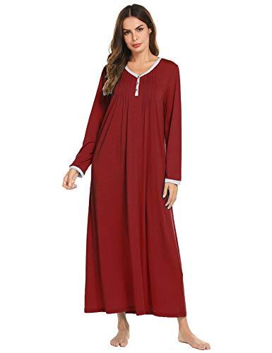 Ekouaer Long Nightgowns for Women Soft Lightweight Long Nightshirt Sleepwear Lounge-wear for Winter Wine red
