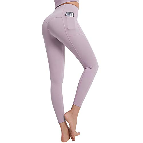 FMY Women's Workout Leggings with Pockets, High Waisted Tummy Control Non-See Through Yoga Pants Runing Sports Leggings