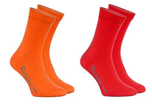 Rainbow Socks - Niños y Niñas - Calcetines de Algodón - 4 Pares - Naranja Rojo - Talla 30-35