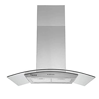 36 inch Island Range Hood 700 CFM Ceiling Mount Hood Stainless Steel Stove Vent Hood with Tempered Glass, Push Button Controls, Mesh Filters