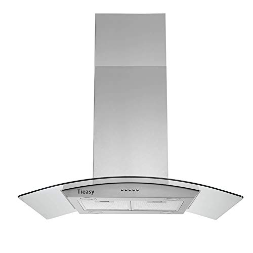 Tieasy 36 inch Island Range Hood 700 CFM Ceiling Mount Hood Stainless Steel Stove Vent Hood with Tempered Glass, Push Button Controls, Mesh Filters