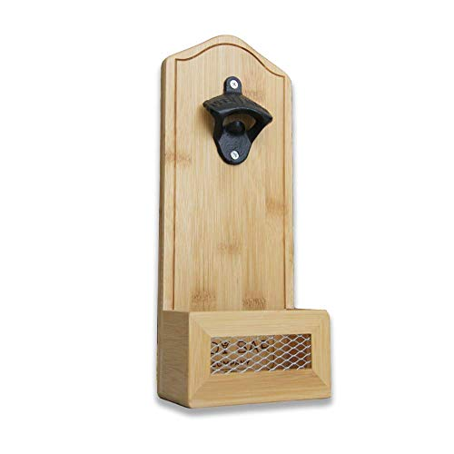 The Tidy Bar Company Bamboo Wall Mounted Beer Bottle Opener with Catcher, Home Bar Accessories for Kitchen Garden Pub & Bars with Vintage Gift Box. Eco-Friendly Beer, Bar and Pub Gift 12x30x6.5cm
