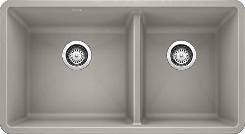 BLANCO, Concrete Gray 442738 PRECIS SILGRANIT 60/40 Double Bowl Undermount Kitchen Sink, 33' X 18'