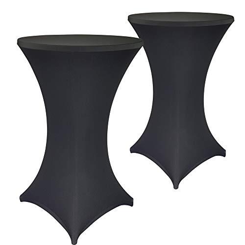SunDeluxe Set x2 Fundas para Mesa de Cocktail Ajustable - Funda elástica para Mesa Redonda de Bar: Ideal para Fiestas, cumpleaños, Bodas, Color:Negro, Talla:Ø 70-75 cm