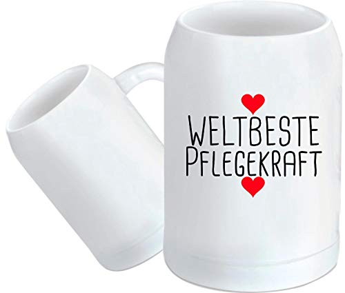 Shirtstown Bierkrug, Weltbeste Pflegekraft, Bier Glas, Bier zapfen, Maß, Spruch Sprüche Logo