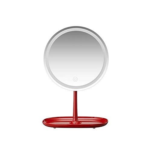 JINBAO Espejo de Maquillaje de Escritorio LED con Luz, Recargable, Inteligente, Espejo de Luz Diurna de Alta Definición, Espejo de Tocador Recargable Portátil, Rojo 8.43 * 6.5 * 12.95 Pulgadas