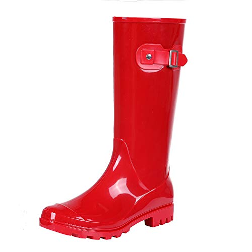 Women's Knee High Rain Boots - Not for Wide Calf - Fashion Waterproof Tall Wellies Rain Shoes Red L36
