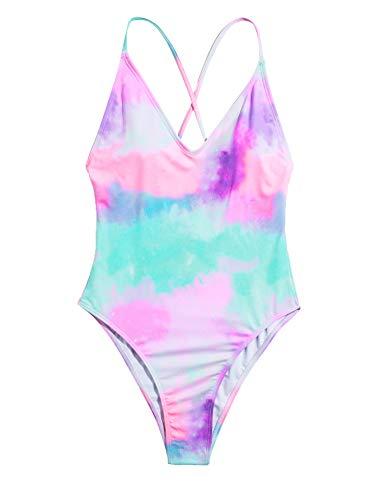 SOLY HUX Women's Plunge Neck Cross Back High Cut One Piece Bathing Suits Swimsuit Tie Dye M