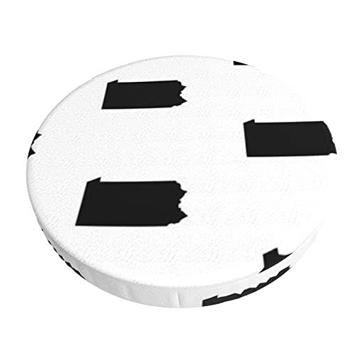 Funda de cojín cuadrada para silla redonda de 30 cm, color blanco y negro