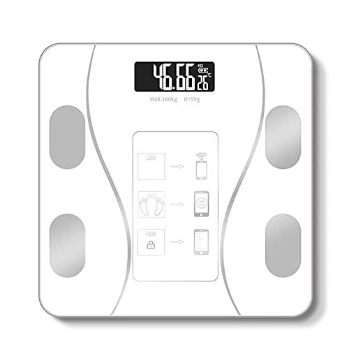BaoYPP Básculas de Grasa Corporal Inteligentes Escala De Grasa Corporal Inalámbrica Inteligente USB + Charing Solar BMI Escamas con App Analizador Fácil de Usar (Color : White, Size : 26x26cm)