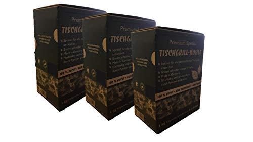 CARBOGARDEN 3 x 1 kg Premium Spezial Tischgrill Holzkohle für alle handelsüblichen Tischgrills, rauchfrei, 100% Buche, im praktischen Schüttkarton