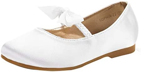 DREAM PAIRS Girls Sophia 22 Adorables Mary Jane Front Bow Elastic Strap Ballerina Flat White product image