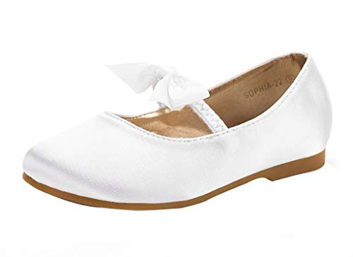 DREAM PAIRS Girls Sophia-22 Adorables Mary Jane Front Bow Elastic Strap Ballerina Flat White Size 12 Little Kid