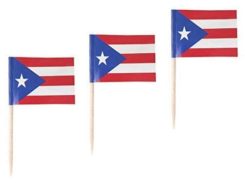 JAVD CYPS 100 Pcs Puerto Rico Flag Puerto Rican Toothpick Flags, Small Mini Stick Cupcake Toppers Puerto Rican Flags,Country Picks Party Decoration Celebration Cocktail Food Bar Cake Flags