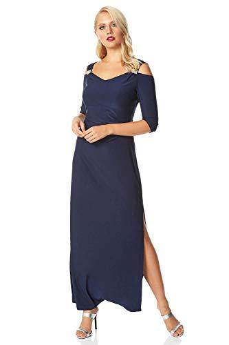 Roman Originals Damen Maxi-Kleid mit Schulter-Cut-Outs Strassbesatz - Damen besonderer Anlass Weihnachtsfeier Abend formell Gala Ballkleid Glitzer verziert Lange Kleider - Midnight Blue - Größe 48