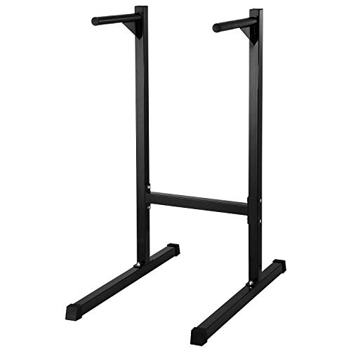 Lanmu Heavy Duty Dip Stand Freestanding Dip Station Parallel Bar Bicep Triceps Home Gym Dipping Station Dip Bar-Black