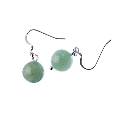 Pendientes de bolas de aventurina verde 12 mm y plata 925