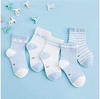Lovely Socks 5 Pairs Children Cotton Socks Kids Spring and Summer Cotton Anti-Slip Stripe Stars Patterns Mid Tube Socks (Pink) Newborn Sock (Color : Light Blue)