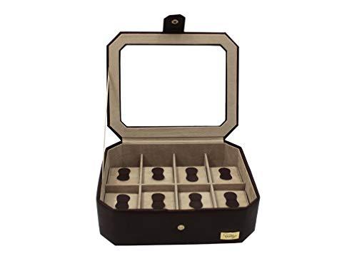 CORDAYS - Scatola Porta Orologi per 8 Orologi con Vetro di Massima qualità Fatta a Mano in Pelle Sintetica .- Colore Marrone. CDM-00036