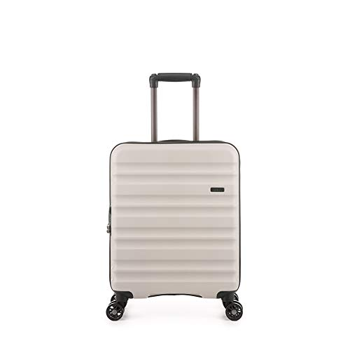 Antler Clifton Taupe Cabin Suitcase | Lightweight Hand Luggage | 4 Wheels | 55x40x20 | Cabin Luggage with Spinner Wheels for Ryanair | EasyJet | Jet 2