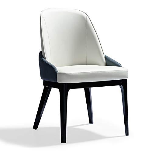 JOMSK Asiento 2 sillas de Madera Maciza Silla de Comedor Silla for Adultos Inicio Restaurante Hotel Presidente Negociación de sillas y mesas (Color : White, Size : 52cm x 59cm x 88cm)